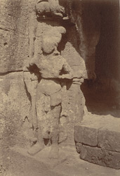 Statue of Dvarapala at the entrance to the Ganesha Gumpha, Cave X, Udayagiri
